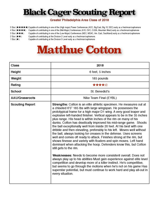 Matt Cotton - Scouting Report